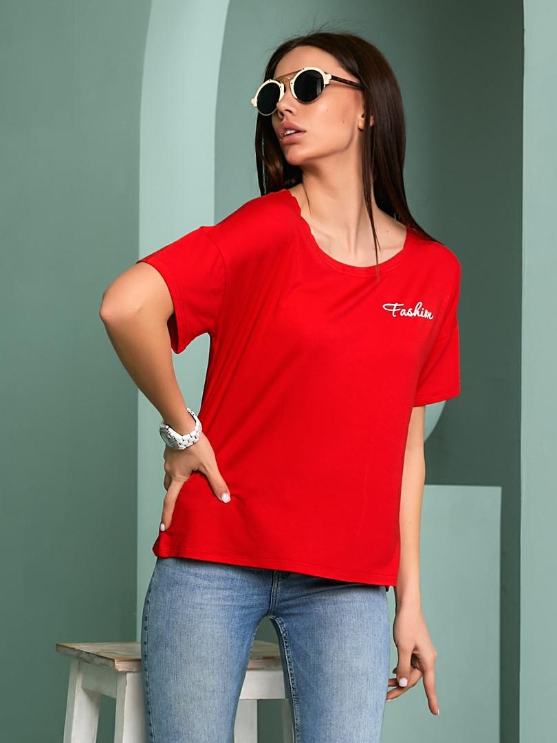 Женская футболка, турецкая вискоза, р-р универсальный 44-48 (красный)