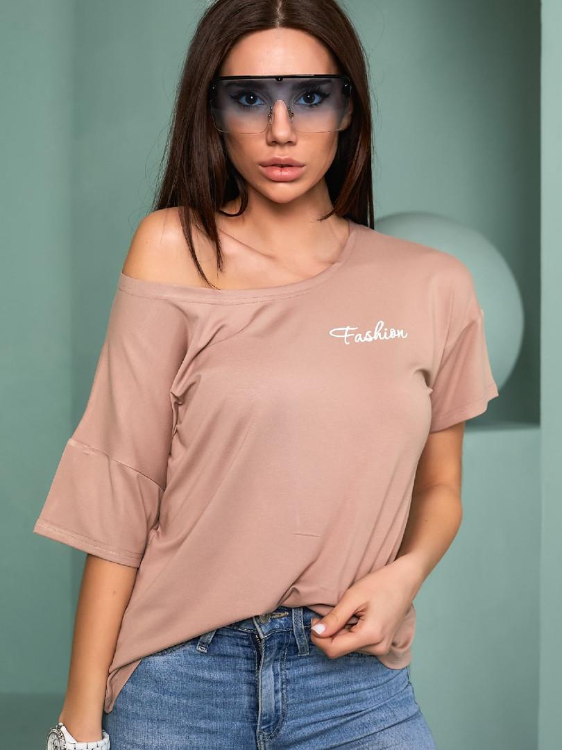 Жіноча футболка, турецька віскоза, р-р універсальний 44-48 (бежевий)