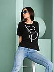 Жіноча футболка, турецька віскоза, р-р універсальний 44-48 (чорний), фото 2
