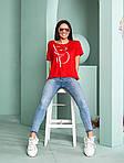 Женская футболка, турецкая вискоза, р-р универсальный 44-48 (красный), фото 2