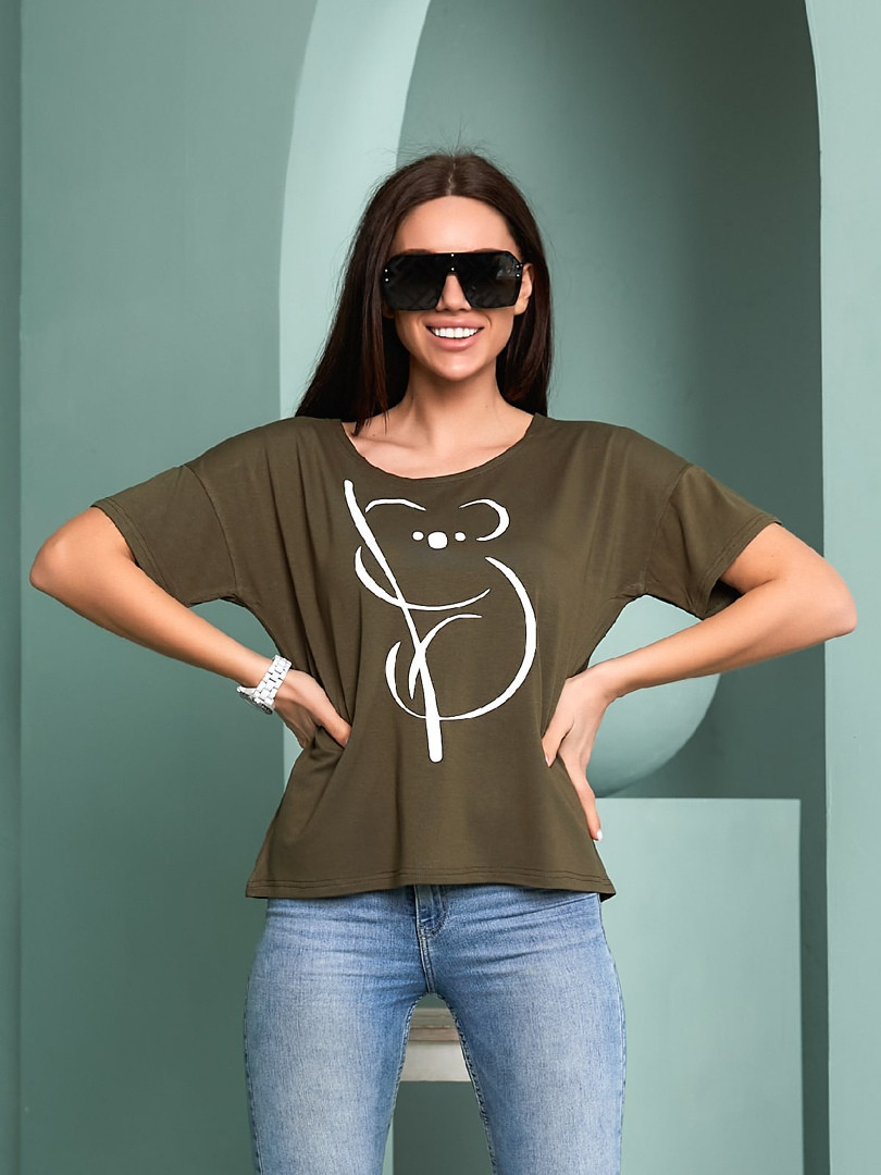 Жіноча футболка, турецька віскоза, р-р універсальний 44-48 (хакі)