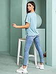 Жіноча футболка, турецька віскоза, р-р універсальний 44-48 (блакитний), фото 3
