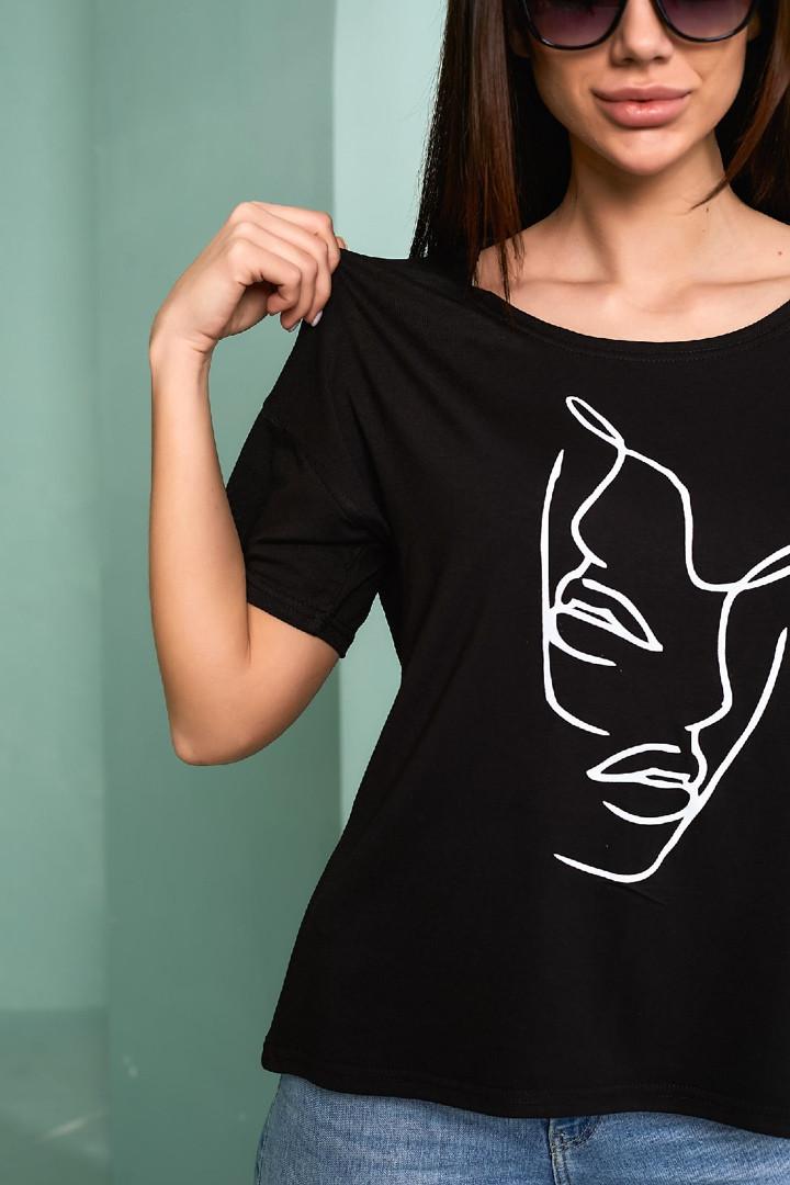 Жіноча футболка, турецька віскоза, р-р універсальний 44-48 (чорний)