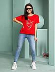Жіноча футболка, турецька віскоза, р-р універсальний 44-48 (червоний), фото 3