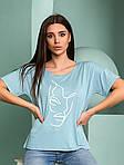 Жіноча футболка, турецька віскоза, р-р універсальний 44-48 (блакитний), фото 2