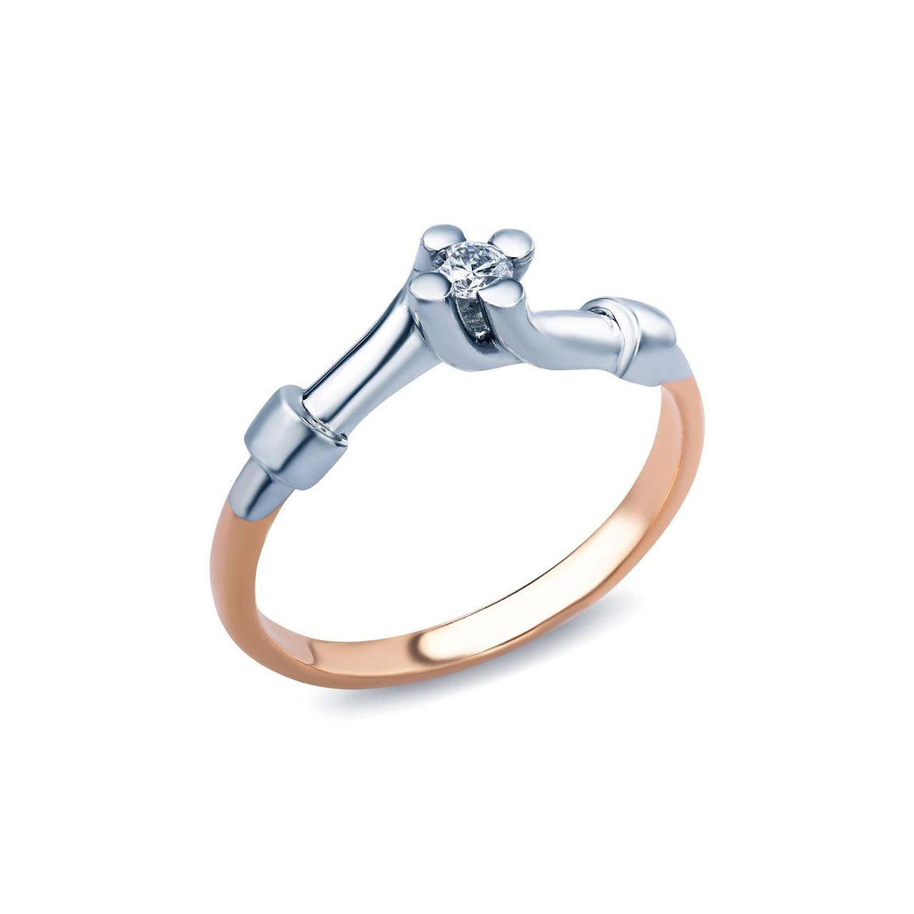 Кольцо из золота с бриллиантом, размер 17 (222082)