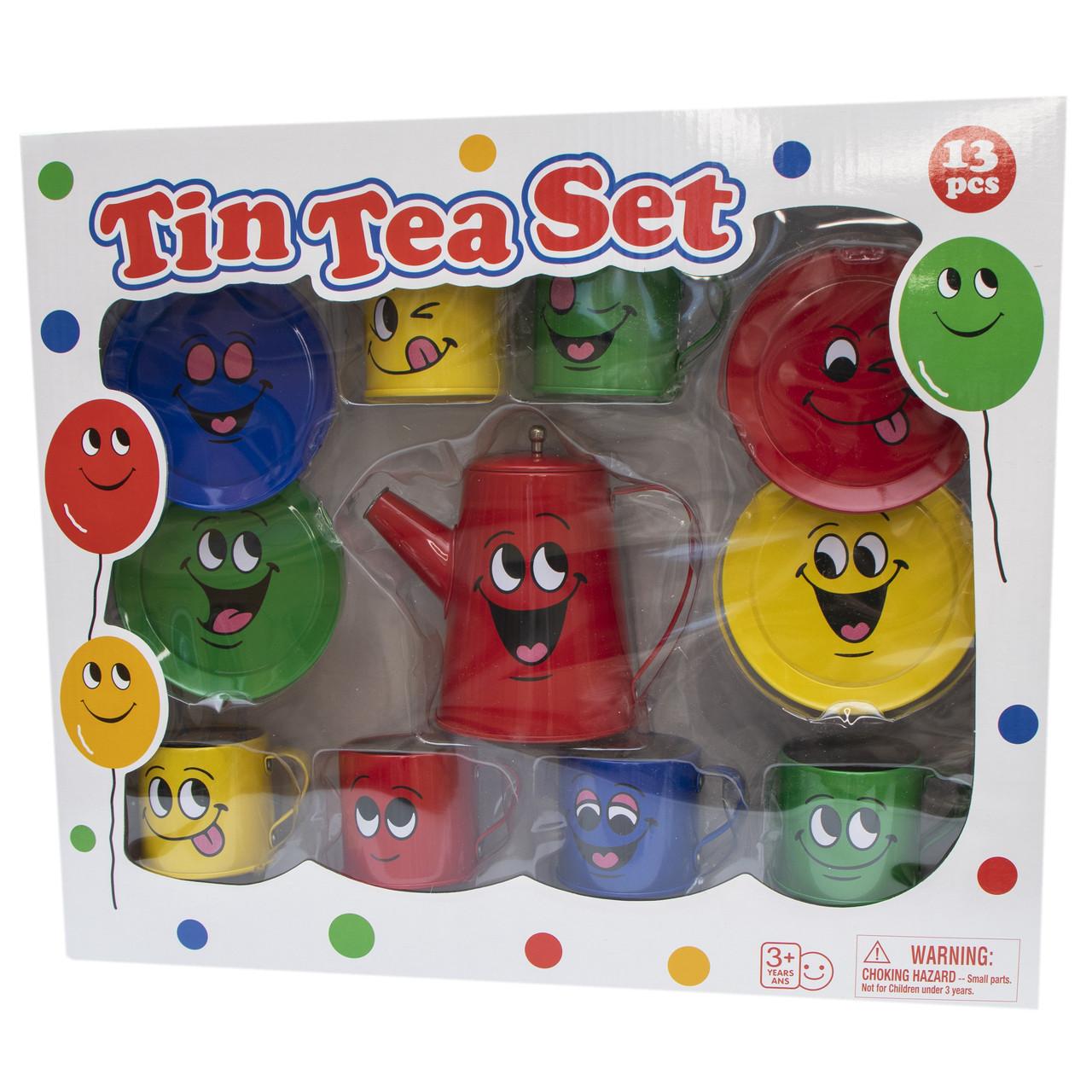 Набор игровой посуды - чайный, 11 шт, разноцветный, жестяной (CH10716W)