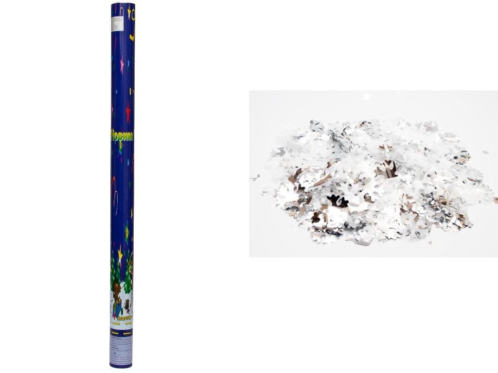 Хлопавка пневматична, 78,5 см, білі і сріблясті сніжинки з фольги (401086)