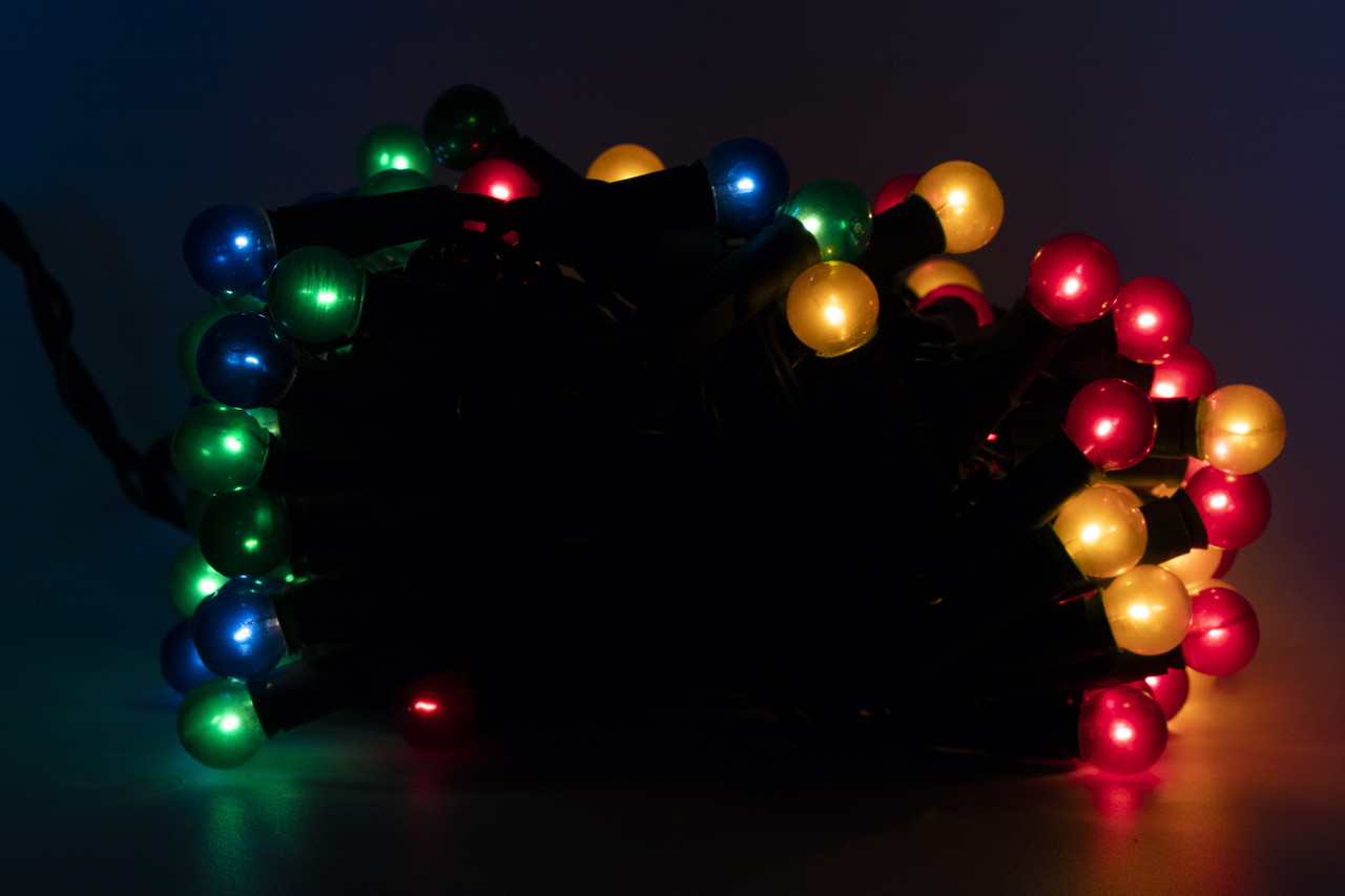 Світодіодна гірлянда - перлинні кульки, 10 м, 100 л, 8 режимів, різнокольоровий, IP20 (050642)
