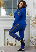 Женский спортивный костюм с капюшоном и лампасами из пайеток с 48 по 62 размер, фото 6
