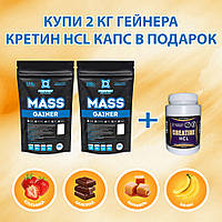 "Гейнер 38% белка""MASS GAINER "" + креатин HCL 150капс PROFIPROT"