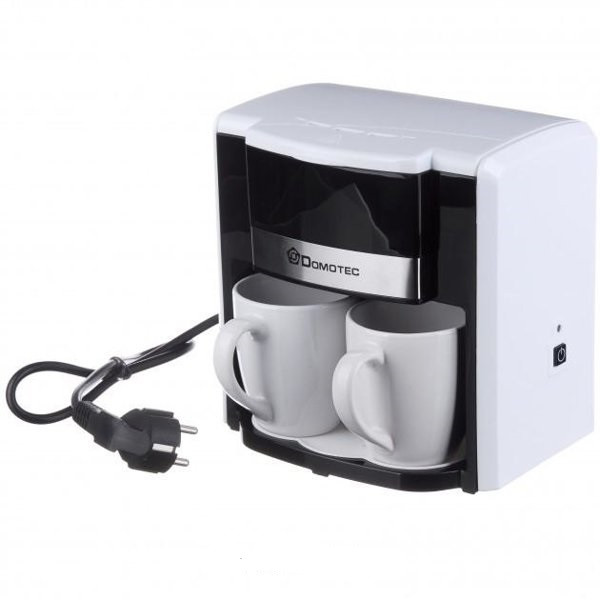 Капельная кофеварка на две чашки | Кофемашина DOMOTEC MS-0706 Белая (500 Вт)