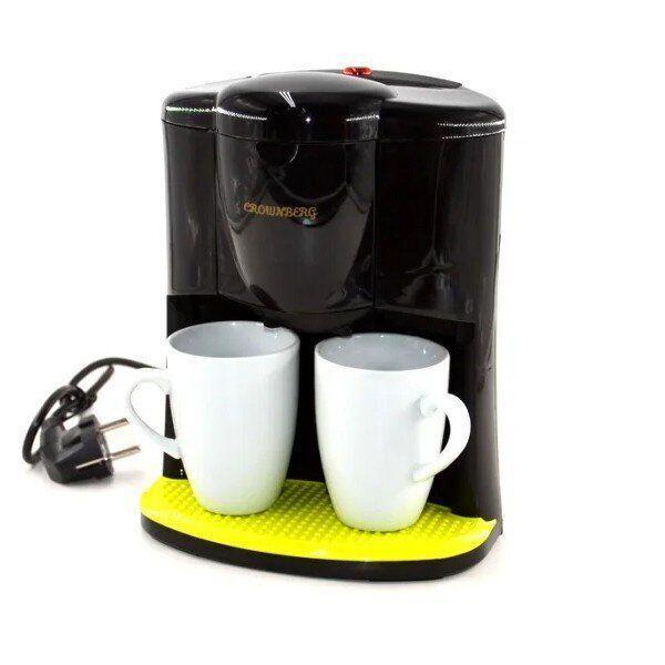 Капельная кофеварка на две чашки   Кофемашина Crownberg CB-1560 Черная (600 Вт)