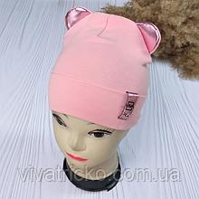 М 93537. Шапка трикотажна для дівчинки з вушками Vivatricko, від 6 місяців до 4 років, різні кольори