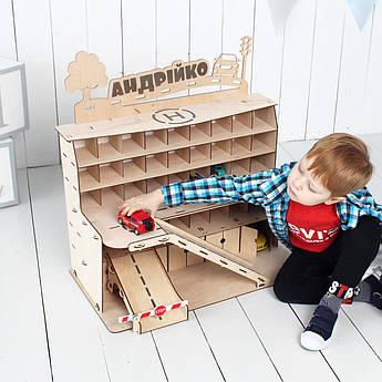 """Детский гараж для машинок """"Nine"""" 68x38x48 см неокрашенный с надписью"""