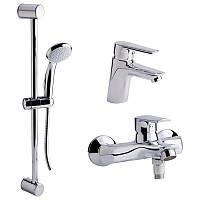 Набор смесителей для умывальника, ванны и душевая стойка Qtap Set CRM 35-311