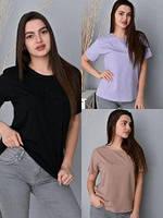 Жіноча футболка однотонна Туреччина ОВЕРСАЙЗ різні кольори