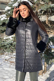 Пальто женское с кроликом черное 125489S