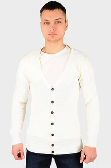 Кофта на пуговицах мужская молочная размер L-XL AAA 128207S