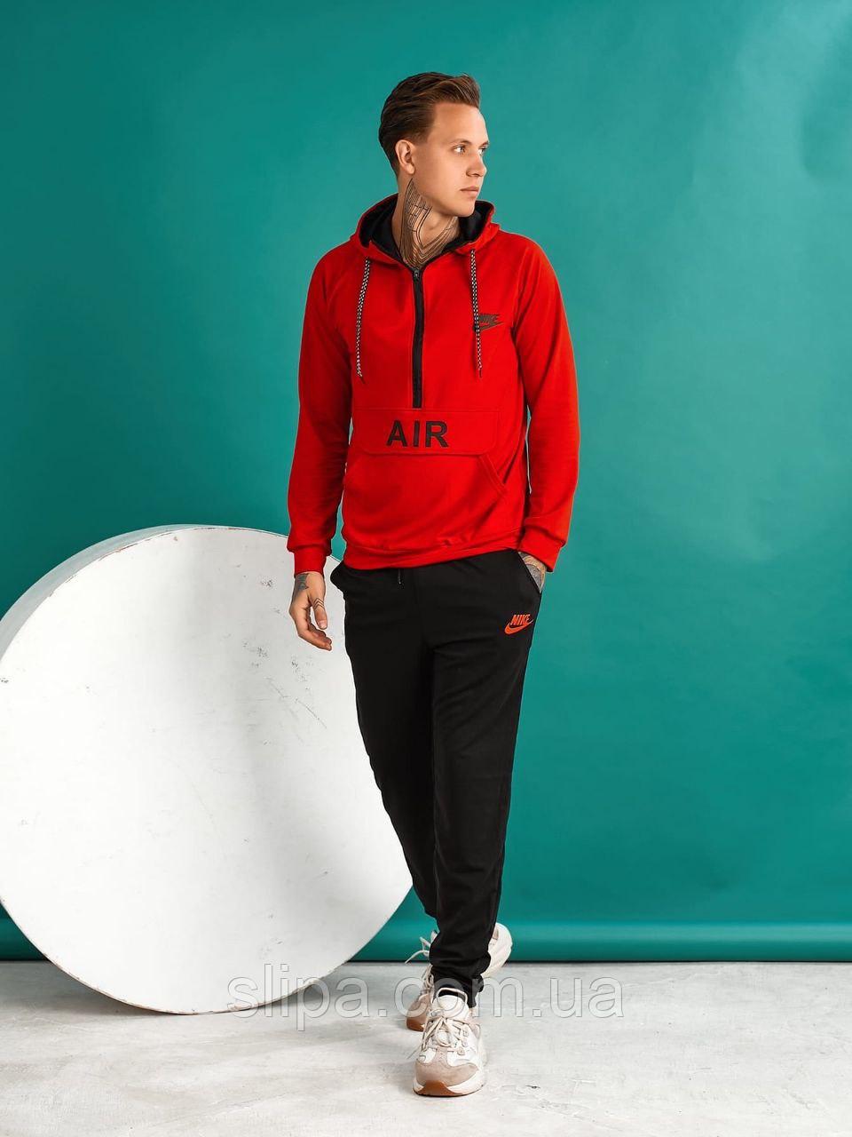 Мужской спортивный костюм в стиле Nike чёрный с красным