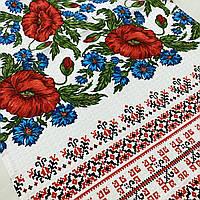 Вафельний рушник український з маками та васильками 45х70 см, фото 1