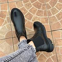Ботинки челси женские кожаные весна-осень 2021 черные 36-41