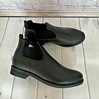 Ботинки челси женские короткте кожаные весна-осень 2021 черные 39,40