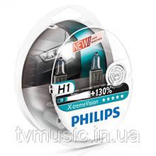 Комплект галогенных ламп Philips H1 X-treme Vision +130% (12258XV+S2)