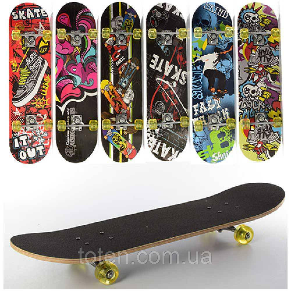 Скейтборд деревянный MS 0321-1 алюм.подвеска, колеса силикон, 7 слоев, 6 видов Т