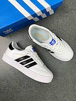 Женские кеды Adidas Originals Sambarose (бело-черные). Демисезонные кожаные кроссовки Адидас