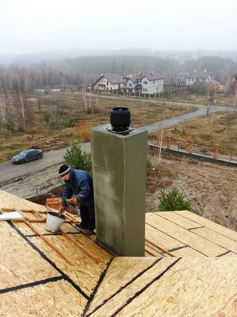 Установка гибридного вентилятора на кирпичный дымоход.