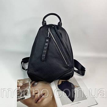 Женский кожаный городской рюкзак Polina & Eiterou чёрный