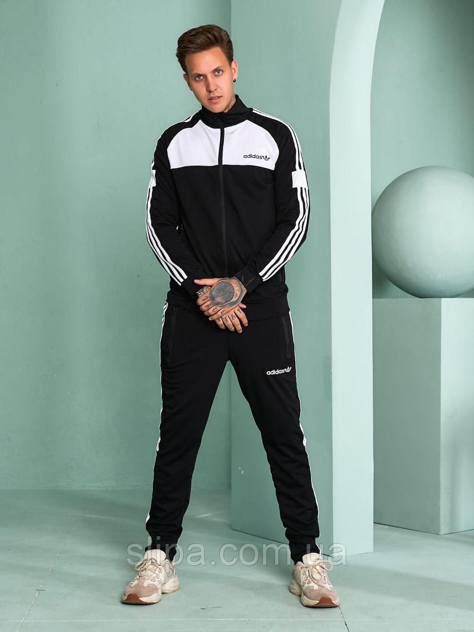 Чоловічий спортивний костюм Adidas без капюшона, чорний з білим