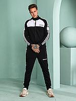 Чоловічий спортивний костюм Adidas без капюшона, чорний з білим, фото 1