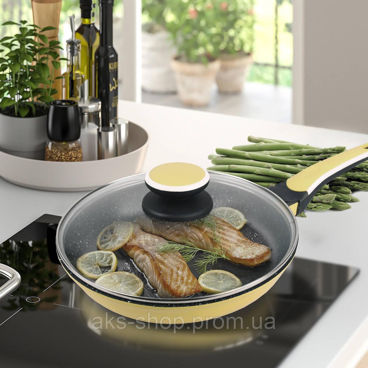 Сковорода с антипригарным покрытием с крышкой Maestro Ceramic MR-1220-28 желтая | сковородка Маэстро, Маестро