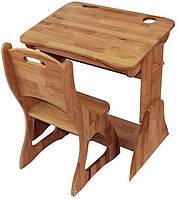 Комплект одноместный регулируемый: парта Растишка с ящиком + стул (ширина 70 см) дерево бук ТМ Mobler, фото 1