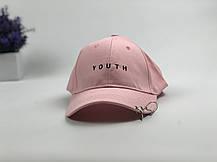 Кепка Бейсболка Чоловіча Жіноча City-A з написом Youth з кільцями Рожева, фото 2