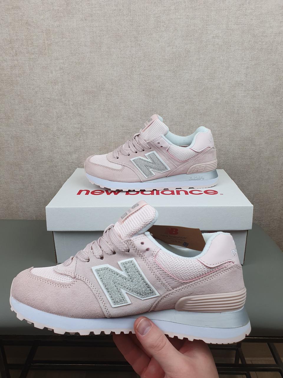 Кроси для дівчат Нью Баланс 574. New Balance 574 Жіночі кросівки сірі з рожевим (Нью Беленс 574)