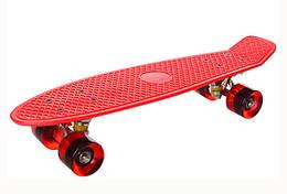 Пенни борд детский.Детский скейт колеса с подсветкой (Красный)