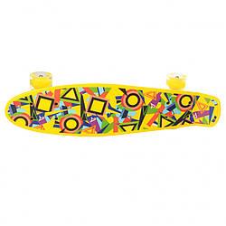 Детский скейт.Скейт пенни борд с подсветкой (Желтый)