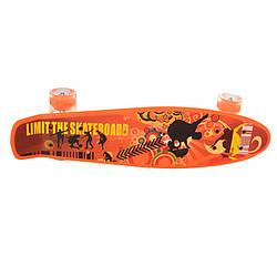 Детский скейт пенни борд для детей.Детский скейт с светящимися колесами (Оранжевый)
