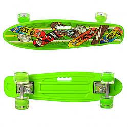 Детский скейт с ручкой.Скейтборд с светящимися колесами (Light-Green)