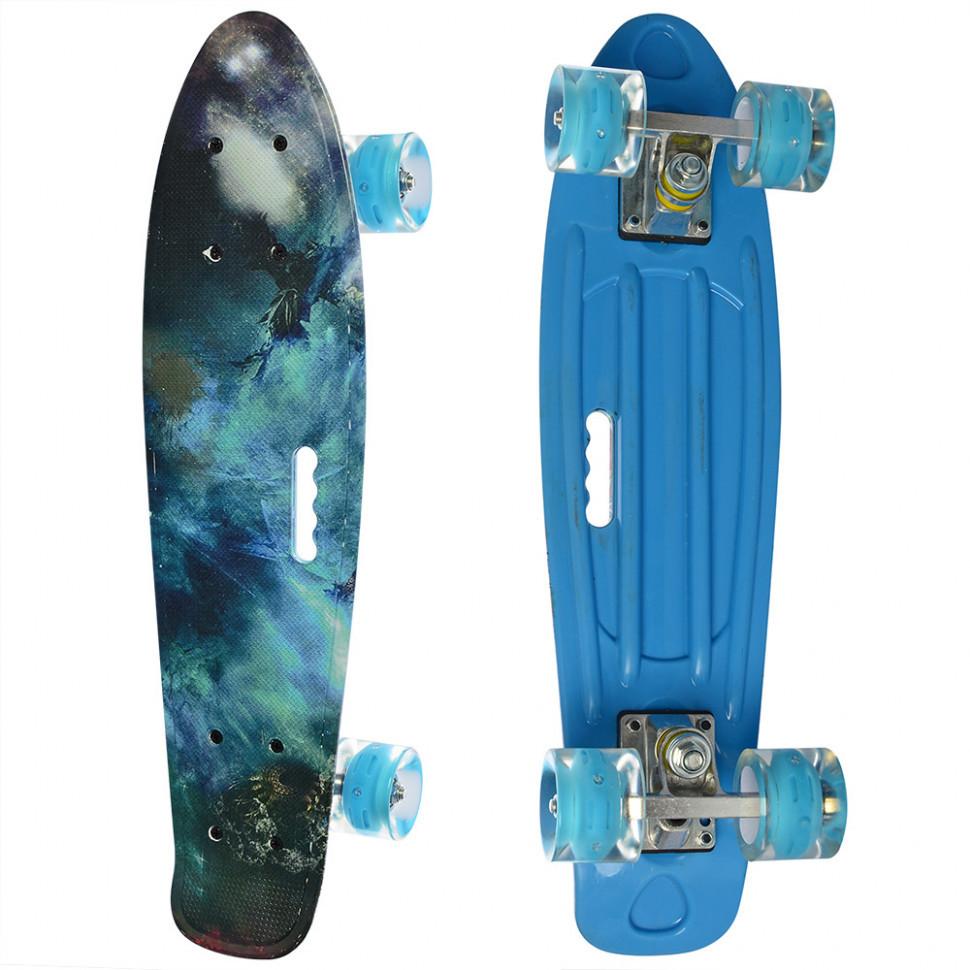 Скейтборд дитячий з малюнком і ручкою.Скейт Penny board.Скейтборд з підсвічуванням коліс.Скейтборд (Синій 1)