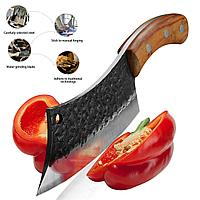 Кухонный топорик-тяпка 16 см из кованой нержавеющей стали с кожаным чехлом (FSSKC-12)