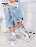 Женские кеды серебро кожаные, фото 2