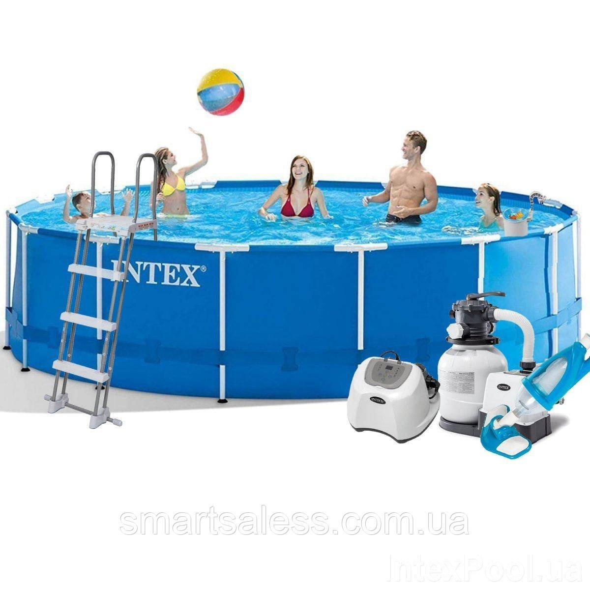 Каркасний басейн Intex круглий, 457 х 122 см, хлорогенератор, насос, сходи, тент, підстилка, набір догляду