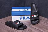 Чоловічі шкіряні літні шльопанці FILA black, фото 9