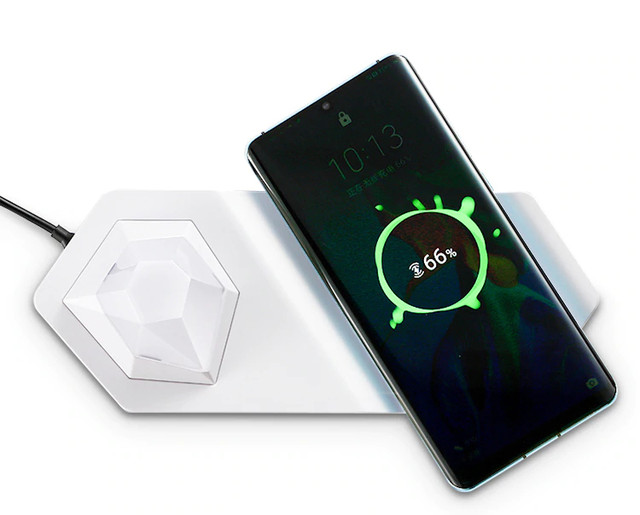 Универсальный RGB ночник-зарядка LUXCEO W9 LED 2 в 1 беспроводная зарядка