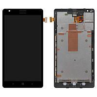 Дисплей для Nokia 1520 Lumia с тачскрином и рамкой, чёрный, оригинал (PRC)