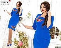 Платье батал с розами на лифе и подоле в цвете электрик  524